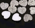 MG6- 20 x 25mm Rose detail HEART Rhinestone Flat Back Faceted SILVER Resin Gems