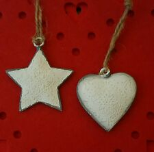 Christmas Heart & Star White Nordic Metal Hanging Decorations  6x6cms