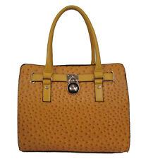 NEW Yellow Ostrich Embossed Vegan Leather Gold lock Handbag tote purse Satchel