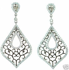 Solid 925 Sterling Silver Black and White Lab Simulated Diamond Drop Earrings '