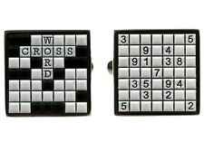 Sudoku & Crossword Puzzle Cufflinks Dad Wedding Fancy Gift Box Free Ship USA