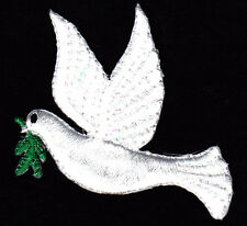 DOVE OF PEACE w/BRANCH (Facing Left-Iron On Embroidered Applique/Birds, Doves