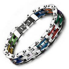 Pride Shack - Rainbow Steel Chain Bike Gear Bracelet - LGBT Lesbian Gay Pride
