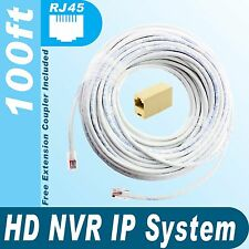 [100ft] Universal HD NVR IP 100% Copper Premade Cable for All Brand NVR
