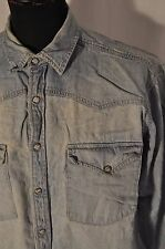 Vintage Levis blue denim western shirt size large grunge trucker