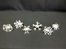 6 Pottery Barn Beaded Snowflake Christmas Holiday Kitchen Dining Napkin Rings