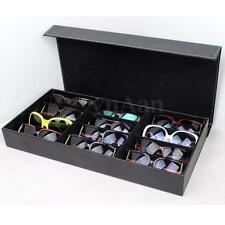 12 Grid PU Pelle Custodia Scatola Portaocchiali Porta Occhiali da Sole Box Case