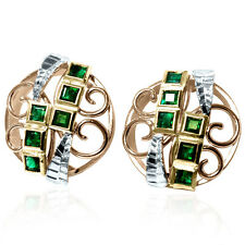 14k Solid Tri Color Gold Genuine Princess Cut Emerald Russian Earrings