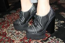 JEFFREY CAMPBELL SKINNER BLACK WASHED PLATFORM SIZE 9.5M