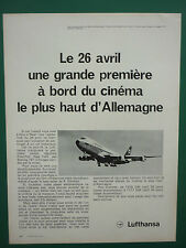 4/1970 PUB LUFTHANSA DEUTSCHE AIRLINE BOEING 747 AIRLINER CINEMA FRENCH ADVERT