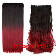 100% AS Human Clip in Hair Extensions Ombre Dip Dye One Piece Curly Straight j53