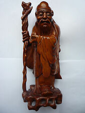 Large Antique/Old Chinese Wooden Made Hand Carved SHOU Immortal Statue Figure