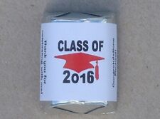 30 PERSONALIZED CLASS OF 2016 GRADUATION PARTY CANDY WRAPPERS SUPPLIES STICKER