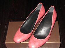 NIB New Gucci GG Guccissima Monogram Pink Rose Leather Wedge Shoes Heel 39.5 9.5