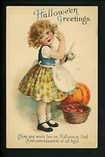 Halloween postcard Wolf 1-5 1of2 Child girl apples pumpkin Vintage