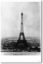 Eiffel Tower PARIS France - French Travel Vintage 1889 Print - NEW POSTER