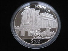 "MDS LIBERIA 20 DOLLARS 2000 PP / PROOF ""MADRID"", SILBER #30"