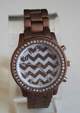 Designer Brown/Bronze Finish chevron slim style Geneva  boyfriend Fashion watch