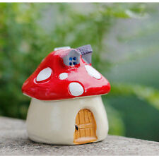 1pc Mini Garden Red Mushroom House Castle Glass DIY Micro Landscape Decor XS