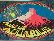 Age Of Aquarius Black Light Poster Vintage Psychedelic Pin-up 1970's Man & Woman