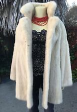 Luxurious Off White Ivory Jasmin Mink Fur Woman's Long Jacket Stroller Coat  M-L