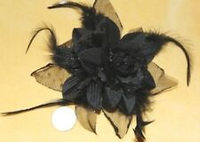 Black Flower FEATHER TRIBAL Burlesque Emo Belly Dance Dancing Hair CLIP PIN