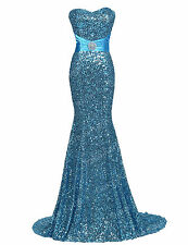 Sequin Long Party Formal Bridesmaid Dresses Evening Prom Wedding Ball Gown Dress