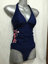BNWT Ladies Sz 12 Wavezone Brand Navy Blue Aussie Print Tankini Swim Suit Set