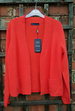 BNWT Marks & Spencer Collection 100% Cashmere Flame Red Cardigan (Size M)