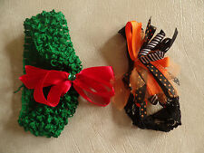 2 baby girls HAIR HEADBAND LOT new christmas halloween fancy holiday BOWS cute!