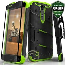 LG K8 Bolt Case W/Stand - Black/Neon Green  Cover Shell Protector Guard Shield