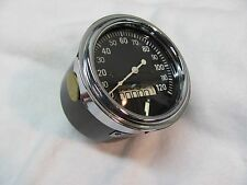 Stewart Warner 120 mph Curved Glass 3 inch speedometer cable driven chrome Bezel