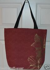 BATH & BODY WORKS GOLD FLOWERS TOTE CANVAS BAG PURSE SHOPPING HANDBAG CUTE HTF