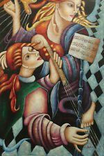 Oil Painting of Two Angels Playing Musical Instruments Harps Portrait 24x36""