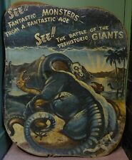 1930s fairground hand-painted advertising hording for a dinosaur attraction.