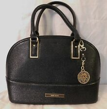 Anne Klein Black Faux Leather Large Dome Satchel Handbag NEW $89