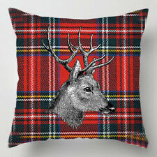 Stag on red tartan kilt scottish decor cushion / pillow