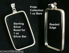 NEW .925 STERLING SILVER BEZEL PENDANT for 1 oz Pride Collection SILVER BAR ONLY