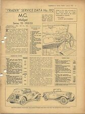 MG Midget TD Series 1950-52  Motor Trader Service Data No. 192 1952