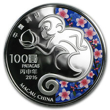 2016 Macau 5 oz Silver Year of the Monkey Proof (Colorized) - SKU #93075