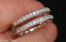 Zales Size 7 14K Double Row Milgrain Diamond Solitaire Enhancer Ring Guard Wrap