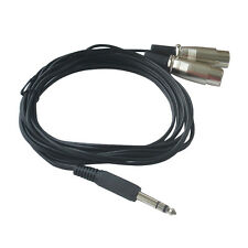 """10FT Dual 3pin XLR Female Connector To 1/4"""" TRS Stereo Balanced Plug Mic Cable"""