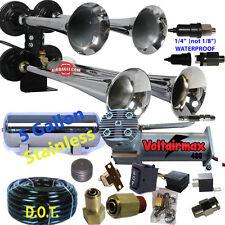 "4 Trumpet Air Horn 16"" #RV1234 Compressor Hose,5galst tank170 dB Train see below"