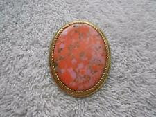 VINTAGE 1974 SARAH COVENTRY CORALINE OVAL PENDANT BROOCH CORAL COLOR GOLD TONE