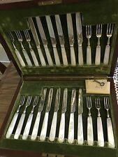 Antique sterling silver and mother of pearl fruit/dessert cutlery set 24 pcs