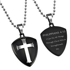 I Can Do All Things Christ Necklace, Philippians 4:13 Black Pendant, Bible Verse