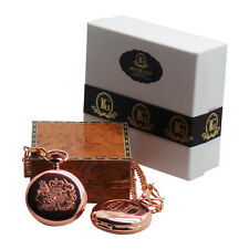 BRITISH COAT OF ARMS ROYAL CREST 18k Rose Gold Clad Pocket Watch CUSTOM Engraved