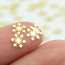 100Pcs Gold Snowflakes Nail Art Metal Decorative Decals Stickers Christmas Gift