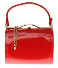 Glossy Patent Faux Leather Clutch Bag Top Handle Clasp Closure Evening Handbag