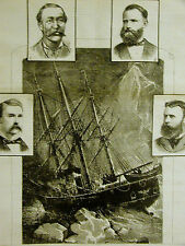 Jeanette Tragedy DE LONG CHIPP COLLINS AMBLER Portraits 1882 Antique Art Matted